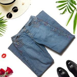 Vintage Express Rhinestone Studded Jeans Frayed